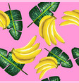 pattern of bananas and green leaves on a pink vector image