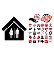 Toilet Building Flat Icon with Bonus vector image