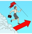 Pop Art Business Woman with Flag Running to Top vector image