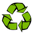 green recycle symbol icon cartoon vector image