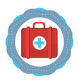 sticker red first aid kit medications tools vector image