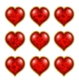 Set of floral hearts for design vector image