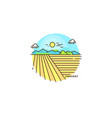 Farming landscape field line icon farm flat vector image