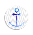 watercolor anchor on wavy background vector image