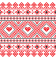 Traditional folk art knitted red embroidery patter vector image