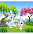 Cute little bunny in the jungle vector image