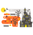 Flat design Halloween infographic elements vector image