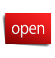 open red square isolated paper sign on white vector image