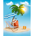 Seaside view with a palm tree beach chair and vector image