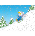 Small child sleighing vector image