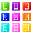 taxi app in phone icons 9 set vector image