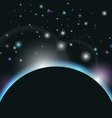 space background with earth and sunrise - vector image