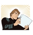 An man reads the documents News and fac vector image