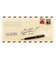 Envelope with fountain pen vector image vector image