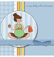 baby announcement card with pregnant woman vector image