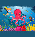 cute octopus under the sea with boy and girl vector image
