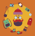 Hipster cyclist character design vector image