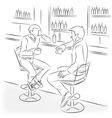 Man in suit sit at bar counter vector image