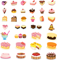Mixed cakes and desserts vector image