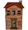 Old wooden house with broken windows vector image