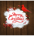 White fir branch and cardinal bird vector image