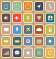 Mobile phone flat icons on brown background vector image