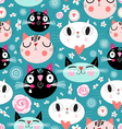 Pattern of love funny cats vector image
