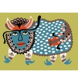 Fantasy animal Ukrainian traditional painting vector image