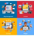 Blogging Flat 2x2 Icons Set vector image