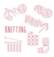 Knitting Related Object Set With Text vector image