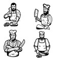 set of butcher on white background vector image