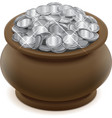 Clay ceramic pot with silver coins vector image