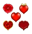 Set of floral hearts for design vector image