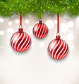 New Year background with glass hanging balls and vector image