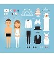 Just Married Paper Dolls with Set of Wedding Stuff vector image