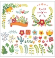 Cute flowers compositionisolated elements set vector image