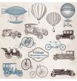 Set Vintage Transportation vector image vector image