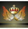 Abstract background with crown and wings vector image