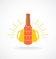 Beer logo template Bottle with vertical text vector image
