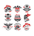 collection of vintage motorcycle emblems original vector image