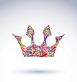 Colorful flower-patterned crown coronation design vector image