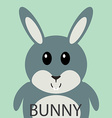 Cute grey bunny cartoon flat icon avatar vector image