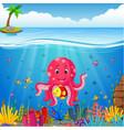 cute octopus under the sea vector image