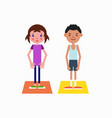 girl and boy got ready for the physical exercises vector image
