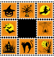 halloween set of stamp on orange black background vector image