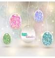 hanging colored eggs vector image