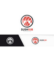 sushi and hands logo combination japanese vector image