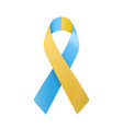 world down syndrome day blue and yellow ribbon vector image