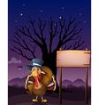 A turkey beside a blank board vector image