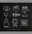 cinema symbols chalk vector image